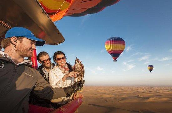 热气球与美食早餐和来自迪拜的野生动物园