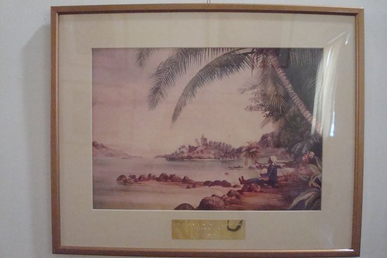 Seychelles Natural History Museum: View of the Rounc Island and a part of St. Annes Quarantine Island (Marianne North)