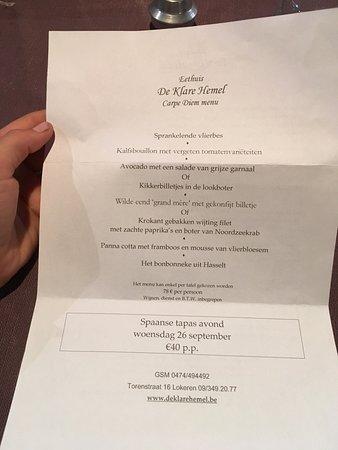 De Klare Hemel: The menu