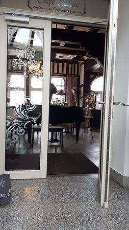 Bad Salzungen, Deutschland: Eingang zum Restaurant / Cafe im Obergeschoss