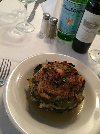Englewood Cliffs, NJ: FRESH STUFFED HAIRLOOM ARTICHOKE  WITH  CIABATTA CRUMBS , PECORINO ROMANO , FRESH HERBS