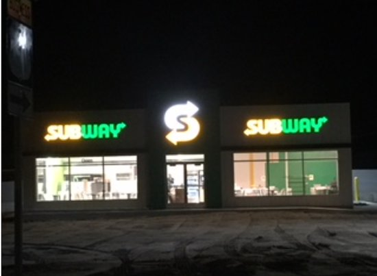 Fort Madison, IA: Night view of the new soon to open Subway