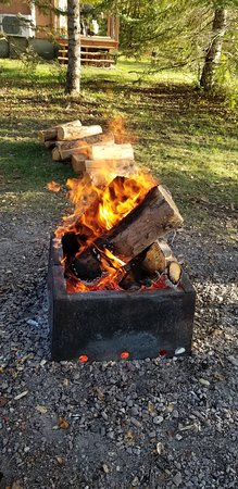 Our roaring bonfire - Picture of Riverview Lodge, Whiteshell