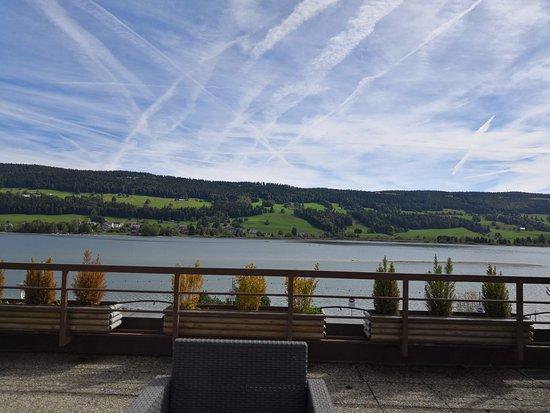 Le Sentier, سويسرا: Vue depuis la terasse de la chambre