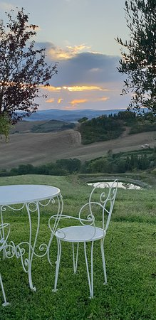 Podere Salicotto: this little table and chairs outside our room - just perfect