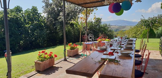 Podere Salicotto: lunch in the garden