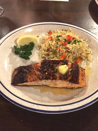 Beverly Depot Restaurant: Cajun Salmon with orange honey butter and rice pilaf