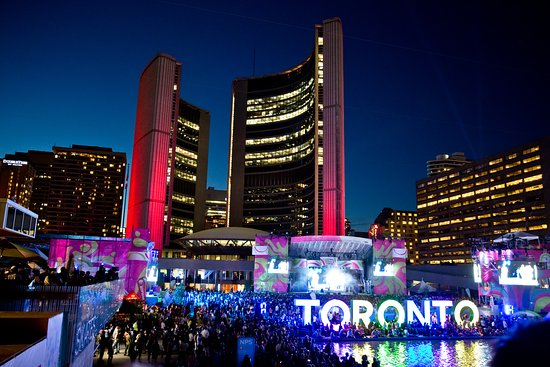 """Toronto, Canada: Crowds gather at Nathan Philips Square to celebrate """"Panamania"""""""