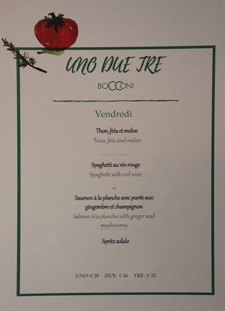 Ristorante Bocconi: menu