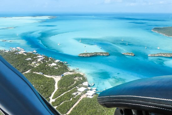 Flying over Staniel Cay in the Exumas, home to Pig Beach and