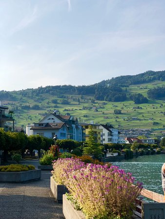 Buochs, สวิตเซอร์แลนด์: Lakeside terrace view.