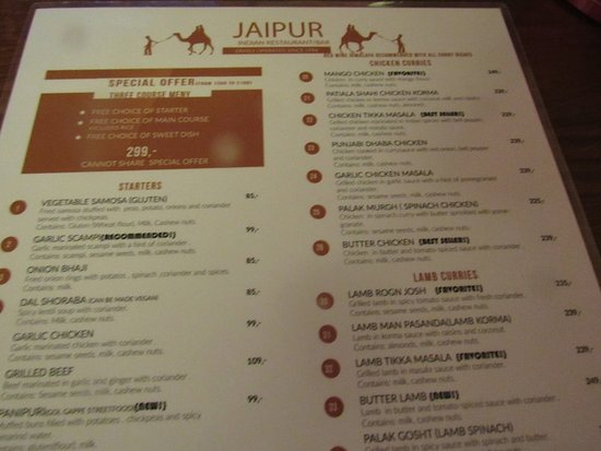 Menu Picture Of Jaipur Indian Restaurant Oslo Tripadvisor