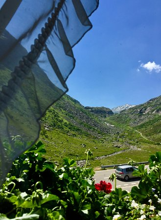 Hospental, Swiss: The view up the St. Gotthard from the restaurant
