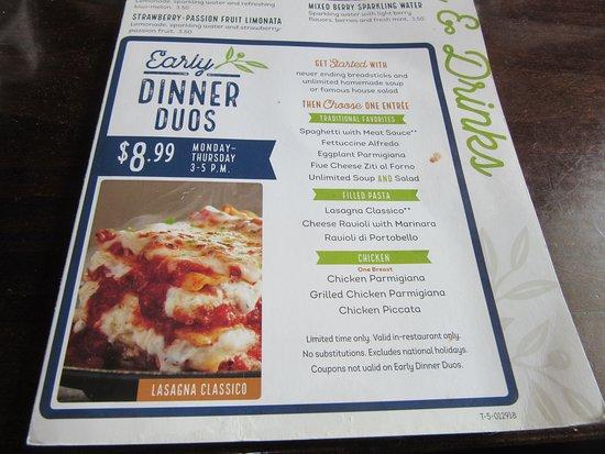 Blasdell, Estado de Nueva York: Menu advertising the dinner duos.