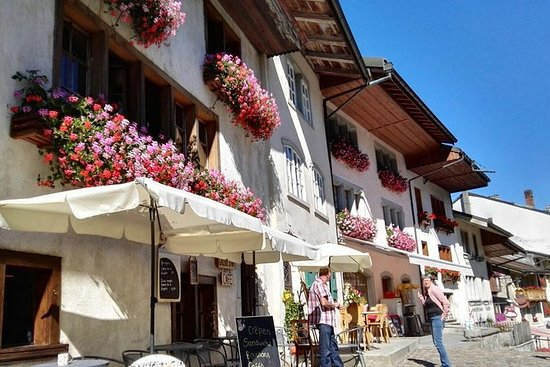 Winter Gruyeres Swiss countryside and...