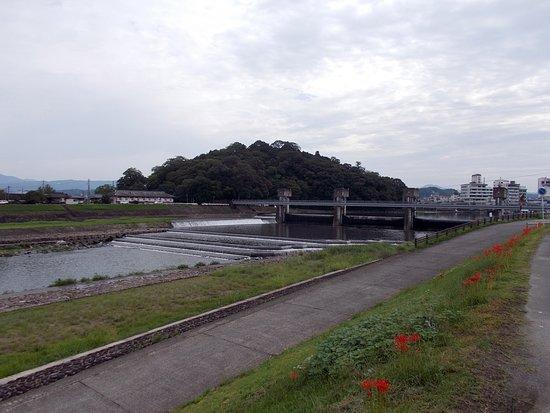 三隈川の河川敷から眺めた日隈山...