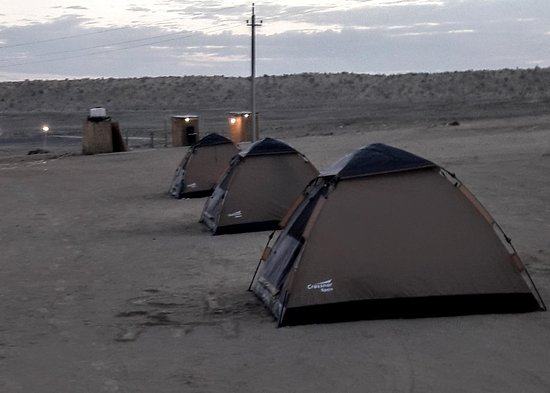 Dasoguz, Turkmenistan: Tent camping with toilets.