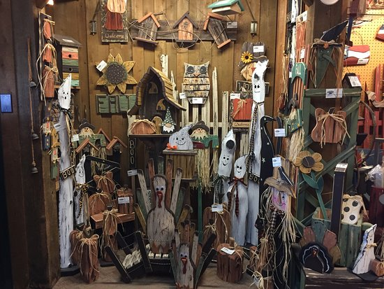 Mishicot, WI: Its fall at Andercraft Woods, Items are made from White Cedar..