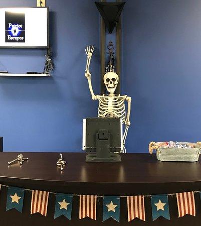 Billy Bones greeting guests at Patriot Escapes in Greensboro,NC