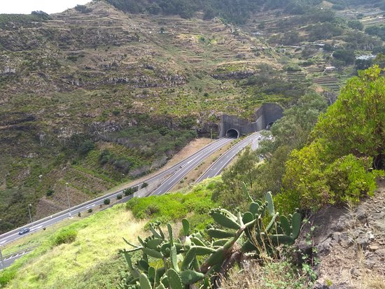 Canical, Portugal: Looking back at the VR1 tunnels from Machico