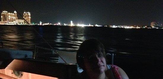 Destin Harbor at night.