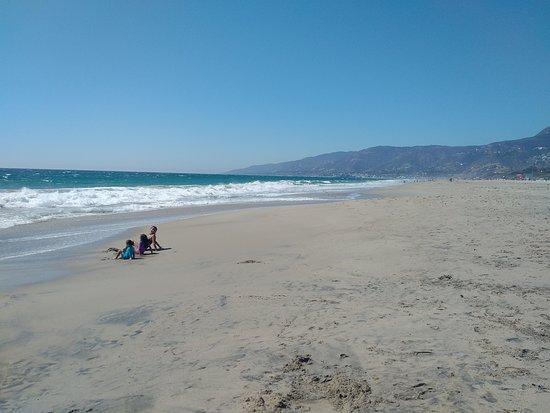 The View Facing North On Zuma Beach In Malibu Ca