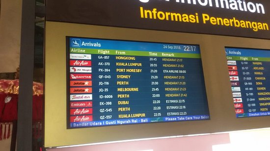 Bali Denpasar Airport Transfer Service Flight Arrival Information