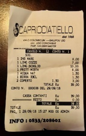 Lido Conchiglie, Italia: BILL