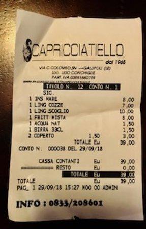 Lido Conchiglie, Ιταλία: BILL