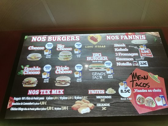 Chateaubourg, Francia: Menu