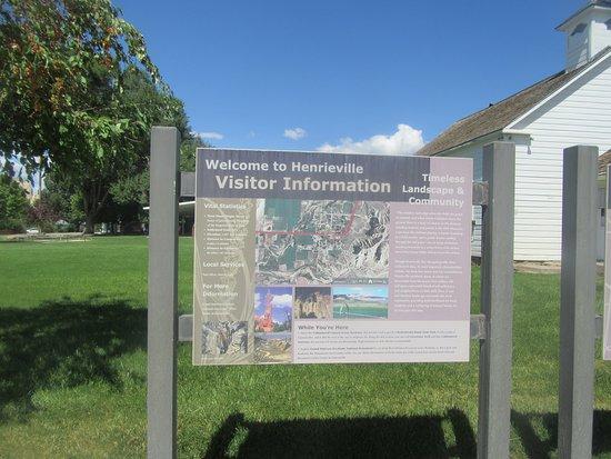 Henrieville, UT: Information Signs at Historic School House, Henreville, Utah