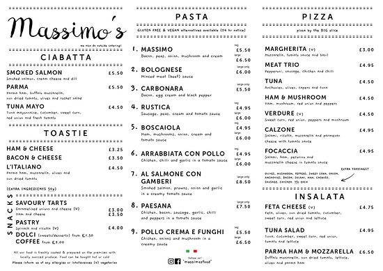 Syston, UK: Massimo's Street Food Menu
