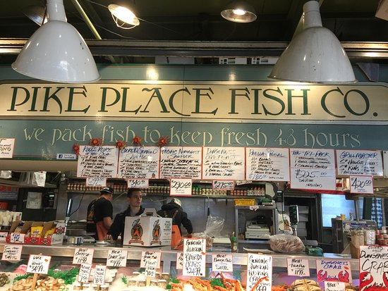 Seattle Free Walking Tours: Pike Place Fish Co-known for the fish throwing!