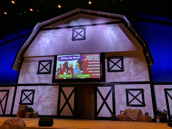 The Amish Country Theater: Screen displays upcoming events before show begins.
