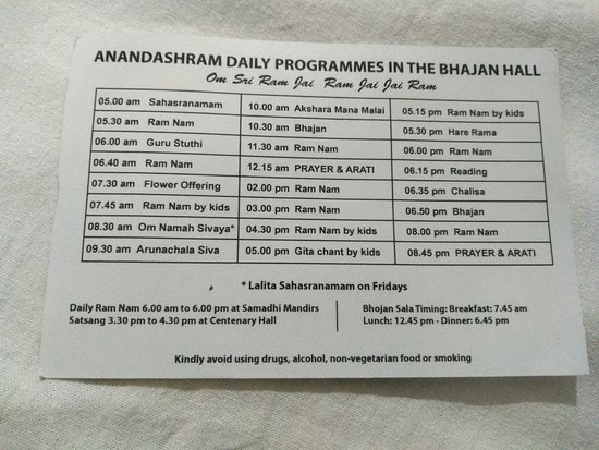 Kanhangad, Indie: Anandashram daily activities