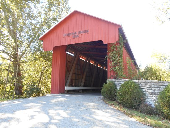 Covered bridge at the entrance of Versailles State Park.