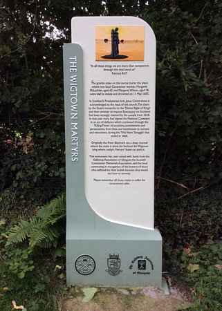 Wigtown, UK: Information board near Martyr's Stake