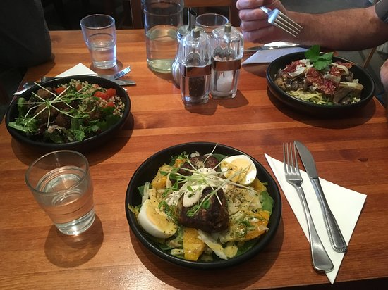 Falafel Quinoa Salad Fish Cakes And Mushroom Pasta Well Presented Flavours A Bit Bland Though Picture Of 3 Monkeys Fine Foods Willunga Tripadvisor