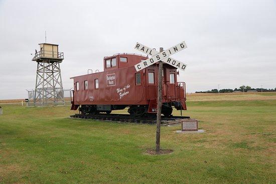 Holdrege, NE: Burlington caboose and gaurd tower from Camp Atlanta POW camp