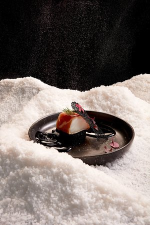 Midnight Snow - Snowfish with Parma Ham served with Black ink Sauce