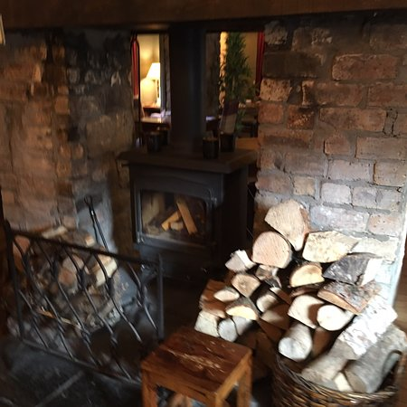 Barley Bree exterior, the fireplace in dining room and Muthill old church opposite