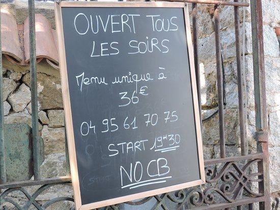Lavatoggio, France: menu