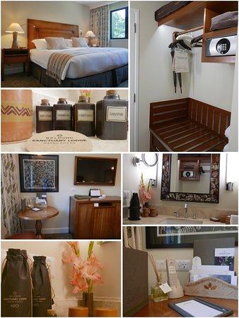 房間不大,但是床上用品還是維持Belmond一貫水準。浴室四件組:洗髮精、潤髮精、沐浴乳、身體乳液,都是用陶瓶裝的中型尺寸,而非一般旅館常用的一次性用品。
