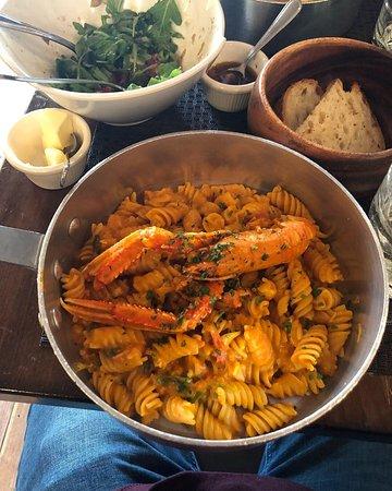 Piccola Cucina Osteria: Gragnano Fusilli with Scampi Langoustine, Burrata Cheese, Cherry Tomatoes and Arugula