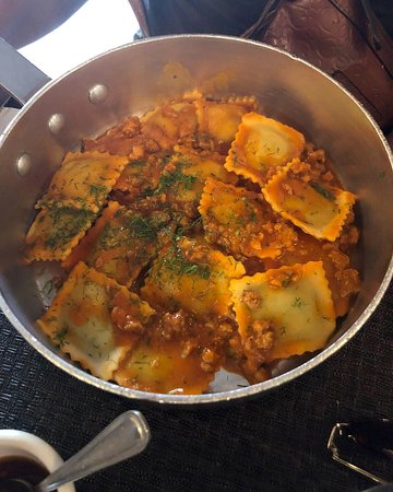 Piccola Cucina Osteria: Spinach and Ricotta Ravioli with Sausage Sauce