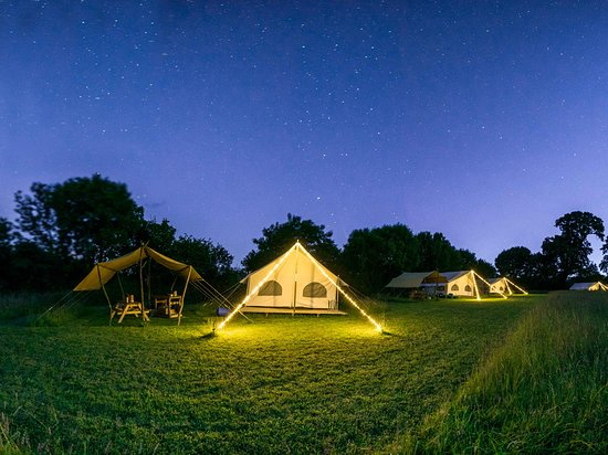 Boncath, UK: The Pioneer meadow at Top of the Woods at night