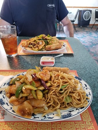 Cool, CA: Shrimp with Hot Garlic Sauce with Chicken Chow Mein