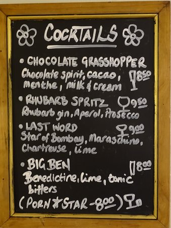 Badby, UK: A regularly changing cocktail menu...