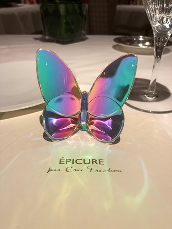 Epicure: Beautiful Glass Butterfly On The Table Upon Arrival