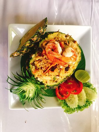 Yummy pineapple fried rice with shrimp